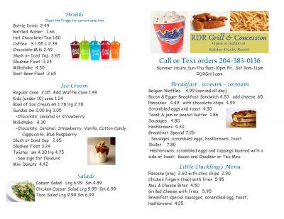 rdr grill concession menu